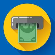 Getting money from an ATM bankomat card symbol icon. Flat design style. Stock Illustration