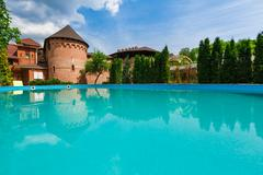 Luxury swimming pool near the hotel Stock Photos