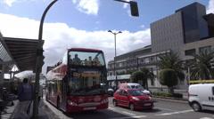 Las Palmas city sightseeing tour bus, Canary Isles, Spain Stock Footage