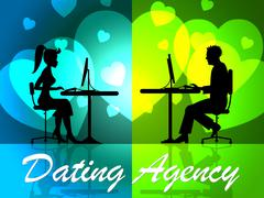 Dating Agency Showing Romance Services And Online - stock illustration
