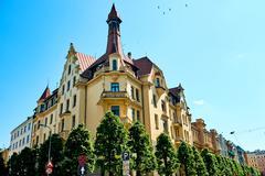 Art Nouveau architecture in Riga, Latvia. Stock Photos