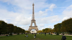 Time Lapse of the Eiffel Tower Daytime-  Paris France Stock Footage