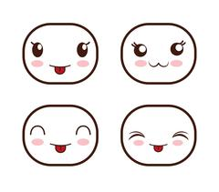 Face design. Icon set. Expression illustration. cartoon icon - stock illustration