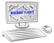 Discount Flights Indicating Reduction Internet And Clearance - stock illustration