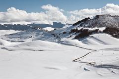Castelluccio of Norcia in winter - stock photo