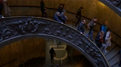People walking down vatican museum stairs 4k staircase italy rome spiral Stock Footage