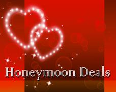 Honeymoon Deals Indicating Holiday Save And Promotion - stock illustration