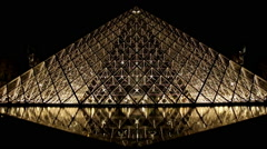 Musee du Louvre in Paris Stock Footage