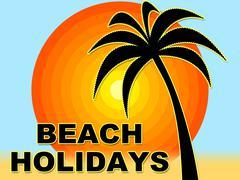 Beach Holidays Representing Coasts Seaside And Vacationing Stock Illustration