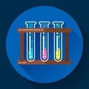 set test tubes bubbling sparkling liquid icon. Flat 2.0 design style. - stock illustration
