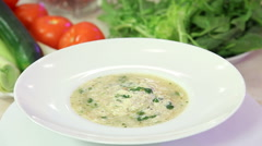 Greek chicken soup in a bowl Stock Footage