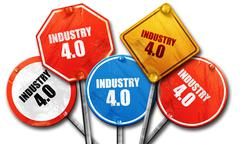 industry 4.0, 3D rendering, rough street sign collection - stock illustration