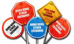 Hong kong stock exchange, 3D rendering, rough street sign collec Stock Illustration