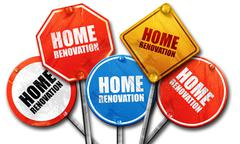 Home renovation, 3D rendering, rough street sign collection Stock Illustration