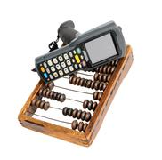 Business still life with barcode scanner, clerical clipboard and old wooden a - stock photo