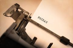 Friday typography on a vintage typewriter - stock photo