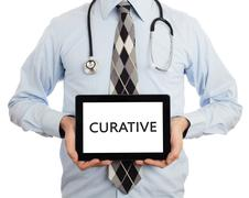 Doctor holding tablet - Curative Stock Photos