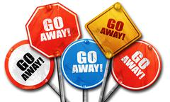 go away, 3D rendering, rough street sign collection - stock illustration