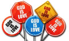 God is love, 3D rendering, rough street sign collection Stock Illustration