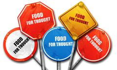 Food for thought, 3D rendering, rough street sign collection Stock Illustration