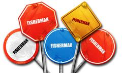 fisherman, 3D rendering, rough street sign collection - stock illustration