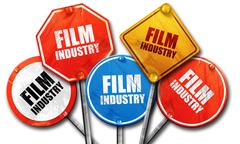 Film industry, 3D rendering, rough street sign collection Piirros