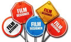 film designer, 3D rendering, rough street sign collection - stock illustration