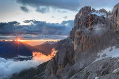 Sunset in Dolomite Alps, Italy Stock Photos