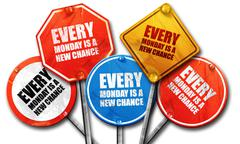 every monday is a new chance, 3D rendering, rough street sign co - stock illustration