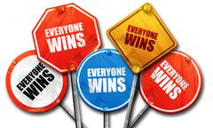 everyone wins, 3D rendering, rough street sign collection - stock illustration