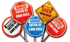 enter at own risk, 3D rendering, rough street sign collection - stock illustration