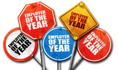 employer of the year, 3D rendering, rough street sign collection - stock illustration