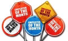 employer of the month, 3D rendering, rough street sign collectio - stock illustration