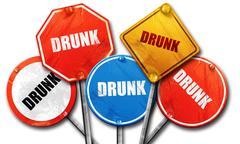 Drunk, 3D rendering, rough street sign collection Stock Illustration