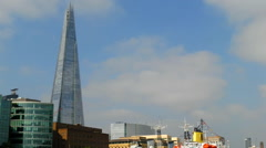 The Shard and City Hall seen from the Thames - stock footage