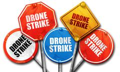 Drone strike, 3D rendering, rough street sign collection Stock Illustration