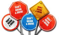 don't drink and drive, 3D rendering, rough street sign collectio - stock illustration