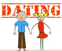 Dating Couple Showing Friendship Partner And Date - stock illustration