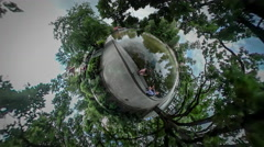 360Vr Video Man and Kid by Water City Day Opole Walking by Edge on Parapet by Stock Footage