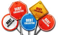 Debt collector, 3D rendering, rough street sign collection Stock Illustration