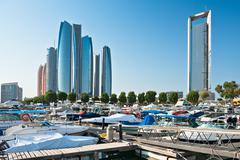 Al Bateen Wharf and the Etihad towers in Abu Dhabi, UAE - stock photo