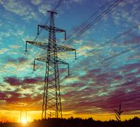 The evening of the pylon outline, is very beautiful. Stock Photos