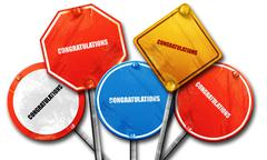 congratulations, 3D rendering, rough street sign collection - stock illustration
