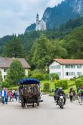 Hohenschwangau street and Neuschwanstein Castle view - stock photo