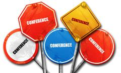Conference, 3D rendering, rough street sign collection Stock Illustration