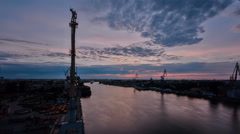 Sunrise timelapse. Panoramic view of Neva river in dawn. Saint Petersburg - stock footage