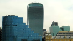 The 'Walkie Talkie' building seen from Thames - stock footage