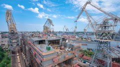 Construction of the ship in shipyard timelapse - stock footage