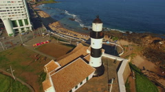 Aerial View of Farol da Barra Lighthouse in Salvador, Bahia, Brazil - stock footage