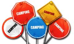camping, 3D rendering, rough street sign collection - stock illustration